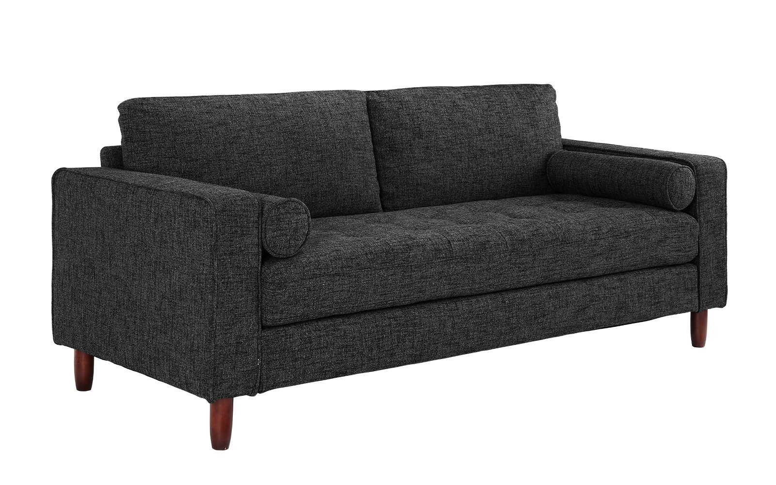 Divano Roma Modern Sofas, Dark Grey - Divano Roma Furniture's upholstered sofa with armrests comes in soft and bright color variances Features hand picked soft and durable linen fabric upholstery with dark brown wooden legs Firmly padded cushions that use high density foam for added comfort - sofas-couches, living-room-furniture, living-room - 81Exbg%2By1ZL -