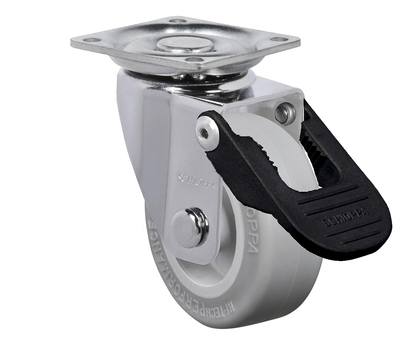Brake 50 mm BH 1-1//4 x 1-1//4 GLAP 210 Citrus White FPI 2 Plate: 1-21//32 x 1-21//32 90 lbs Swivel 50 mm Swivel Plate: 1-21//32 x 1-21//32 Non-Marking Polyethylene Wheel 2 Schioppa BH 1-1//4 x 1-1//4