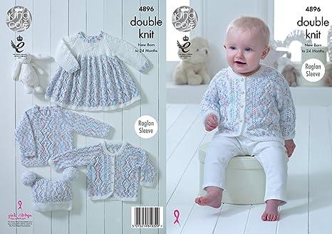 0db9c2ab5 King Cole 4896 Knitting Pattern Baby Set Dress Cardigan Sweater Hat ...