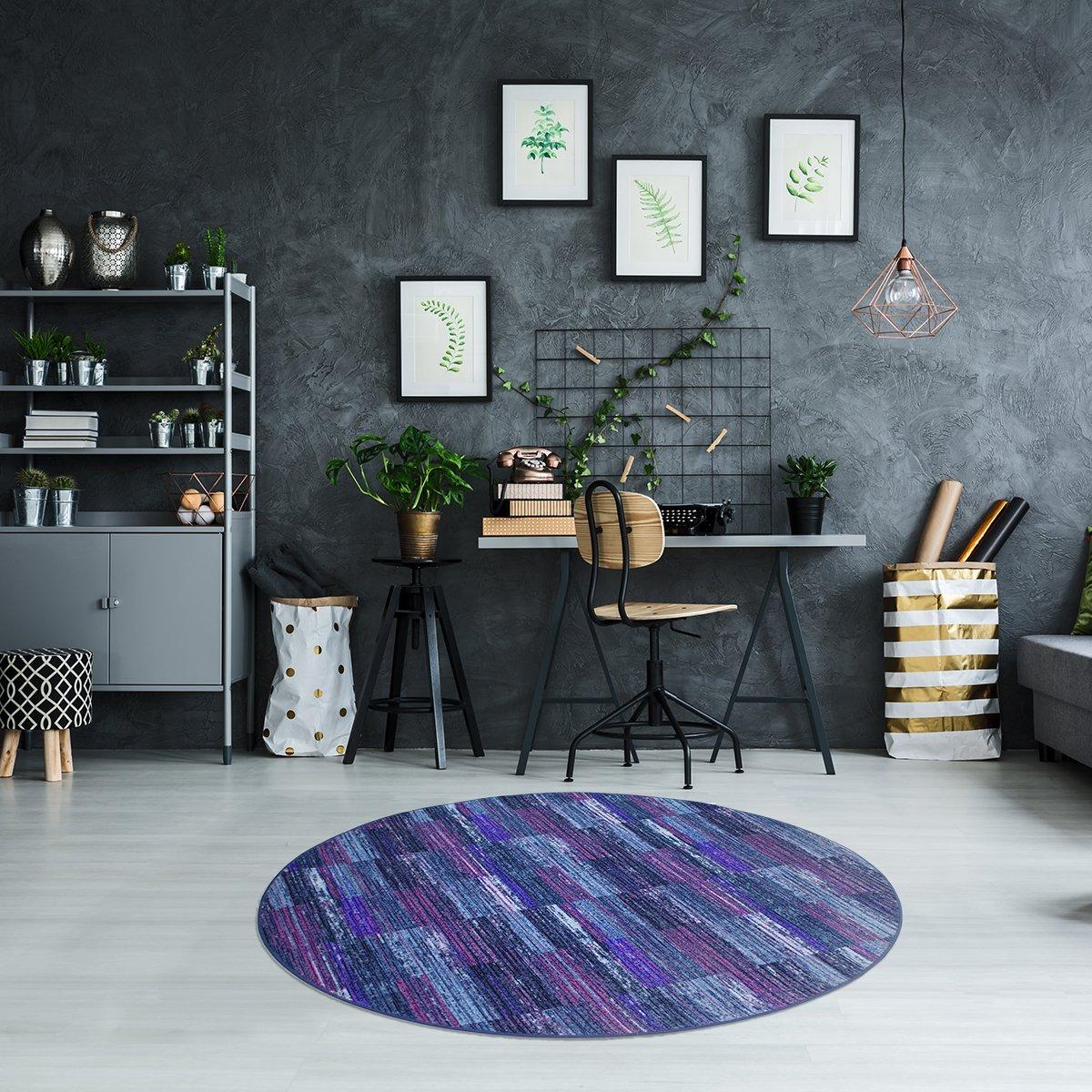 Luxus Schlingen Teppich Magic Light Rund Farbe Wählbar Pink Blau