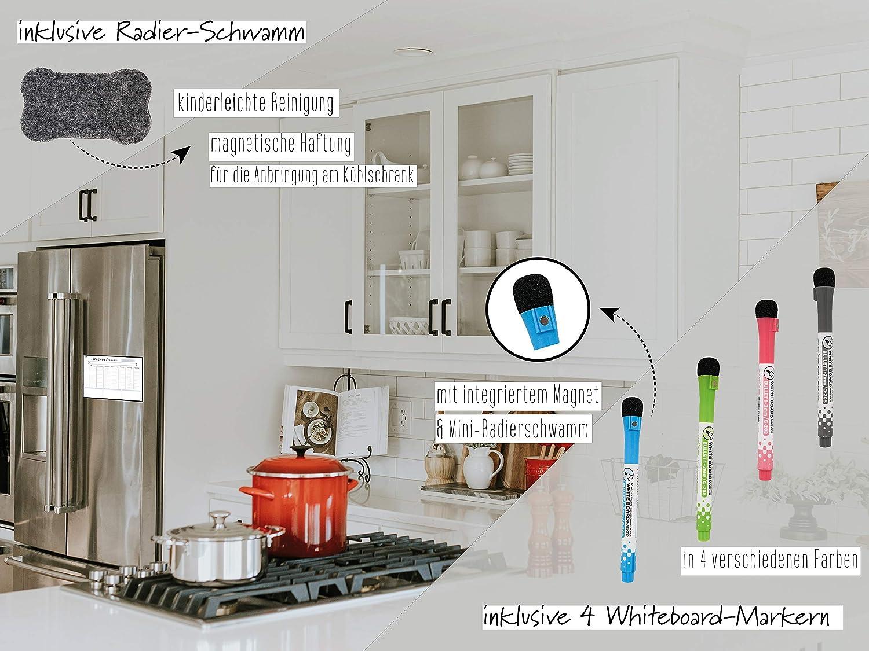 Rosenfeld - Magnetischer Wochenplaner - Whiteboard für den Kühlschrank -  abwischbare Magnet-Tafel für Organisation, Menüplanung und Einkaufsliste -