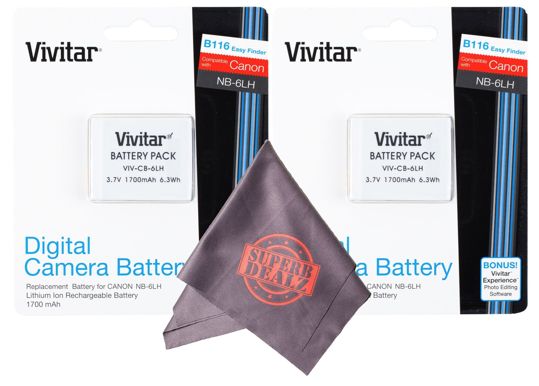 2 Pack Vivitar NB-6L / NB-6LH Ultra High Capacity Rechargeable 1700 mAh Li-ion Batteries + Microfiber Lens Cleaning Cloth for CANON PowerShot Cameras (Canon NB-6L / NB-6LH Replacement) by Vivitar