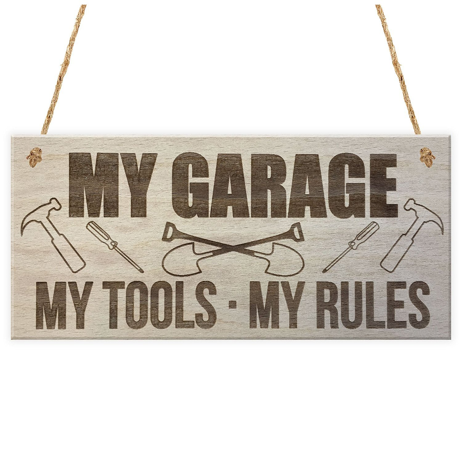 TOOGOO(R) My Garage My Tools My Rules Man Cave Shed Hanging Plaque Fathers Day Gift Sign