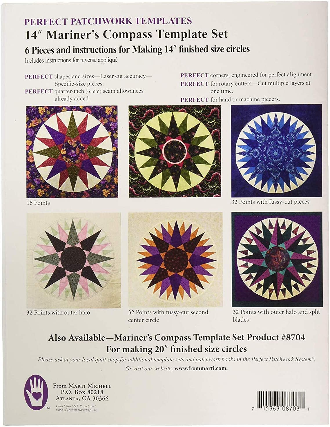 Marti Michell 14 Mariners Compass Acrylic Template Set for Quilting 6 Pieces