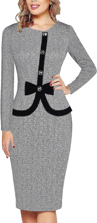 Fantaist Women's Short Sleeve Bowknot Button Patchwork Business Sheath Dress
