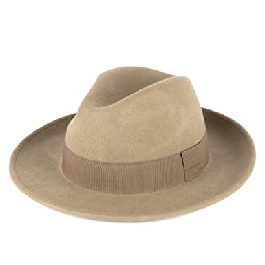20fd83d0d136e Elegant Beige 100% Wool Fedora Hat Waterproof   Crushable Handmade in Italy