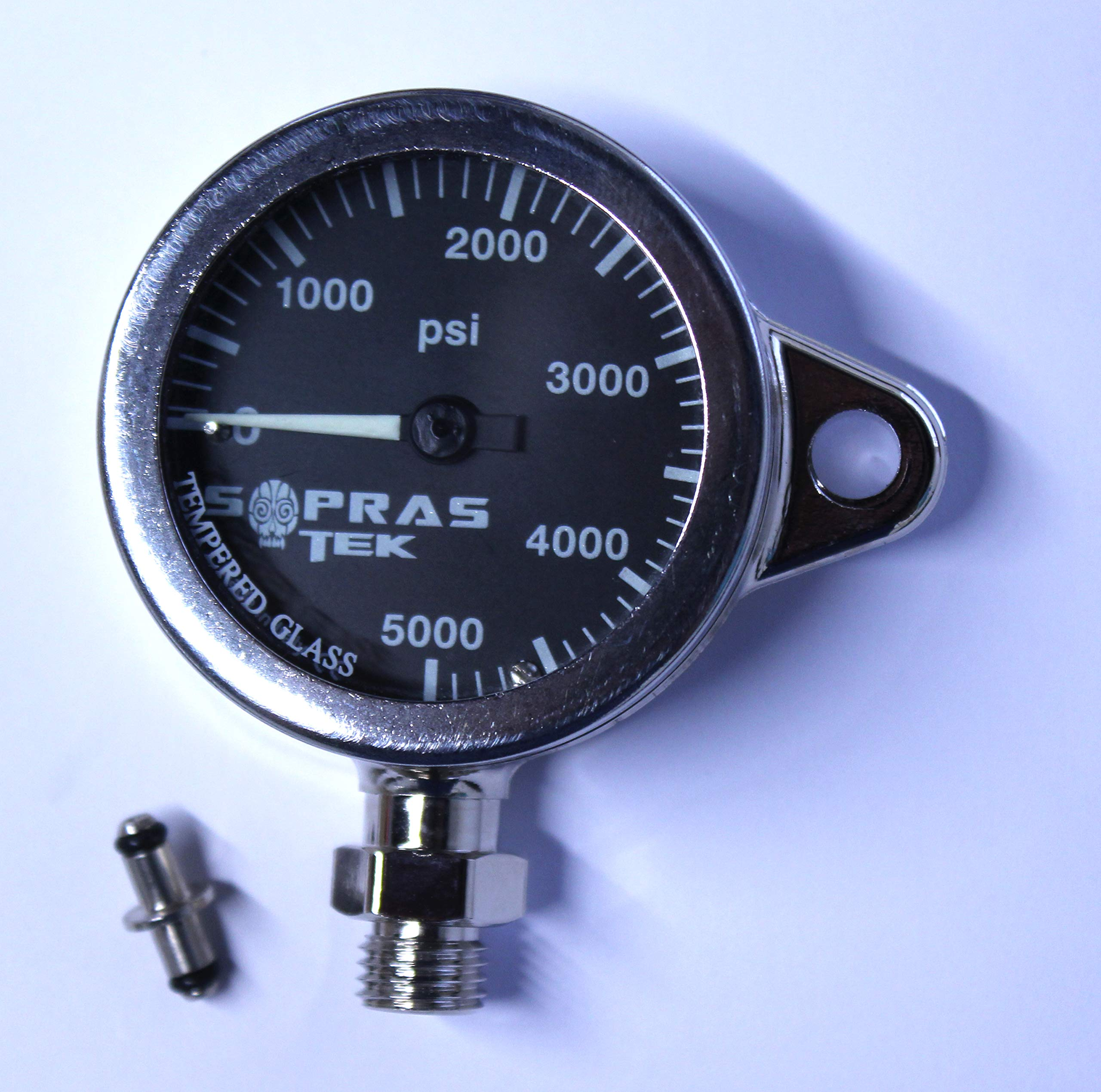 Dixie Diver SOPRAS SUB Plated TEK Brass SPG Imperial Pressure Gauge Black PSI 2 INCH Clip Ready Chrome Plated