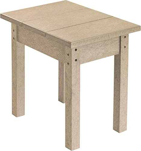 Recycled Plastic Small Side Table, Beige, 17 L x 17 W x 17 H