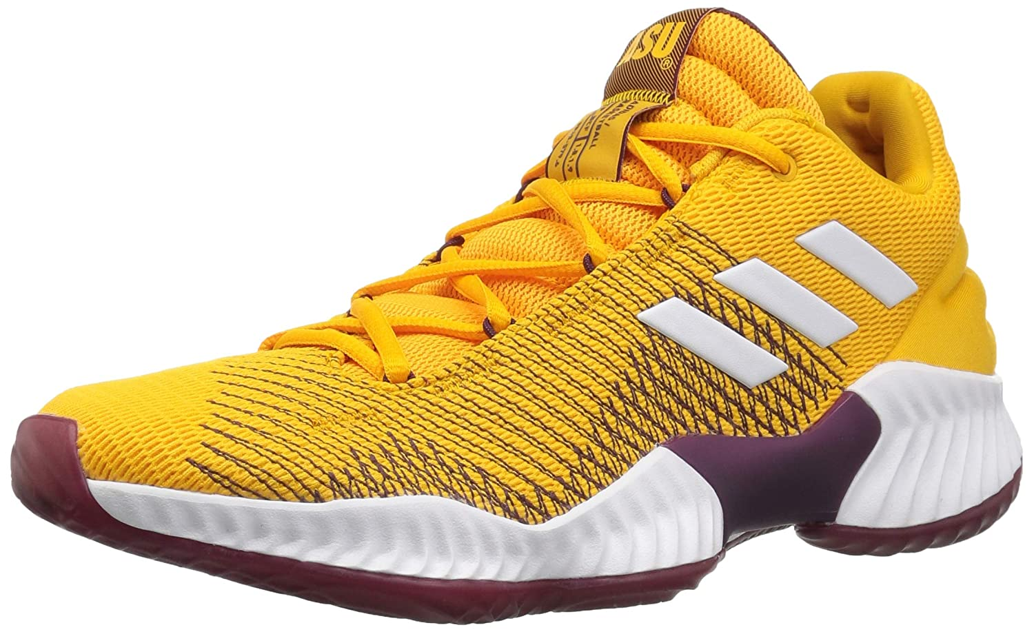 Collegiate gold White Maroon Adidas Mens Pro Bounce 2018 Low Basketball shoes