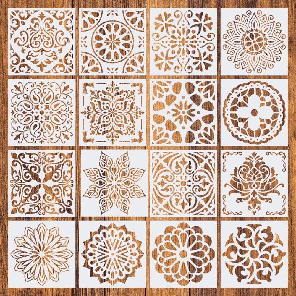 16 piezas Mandala Dot Plantillas de pintura 6x6 pulgadas DIY Dibujo Pintura Artesan/ía Proyectos de arte Plantillas de pintura de roca reutilizables para paredes de tela de madera Plantilla de pintura