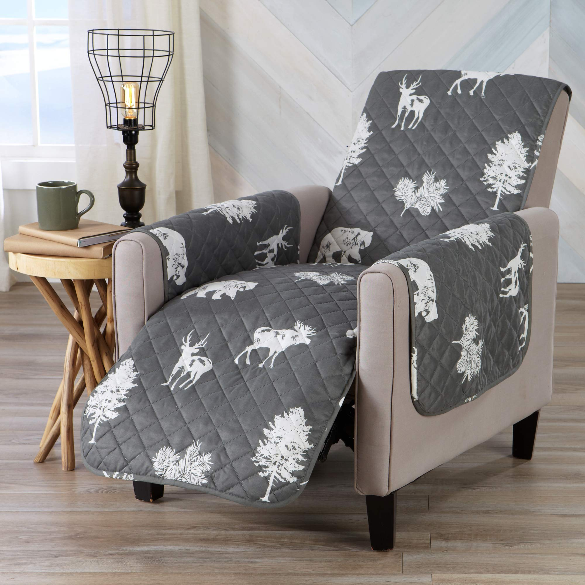 Sofa Saver Lodge Reversible Stain Resistant Printed Furniture Protector. Perfect for Pets and Kids. Adjustable Elastic Straps Included. (Recliner, Forest Animals)