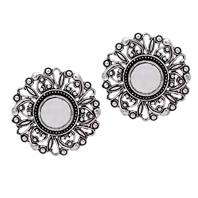 Buy Fashion Honor 18 00 Grams Mirror Design Oxidised Silver Mirror