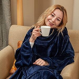 "Wearable Fleece Blanket with Sleeves & Foot Pocket for Adult Women Men,Lightweight Soft Plush TV Blanket Wrap Throw with Sleeves and Adjustable Hook & Loop 79"" x 67"" Navy (Kangaroo Pocket)"