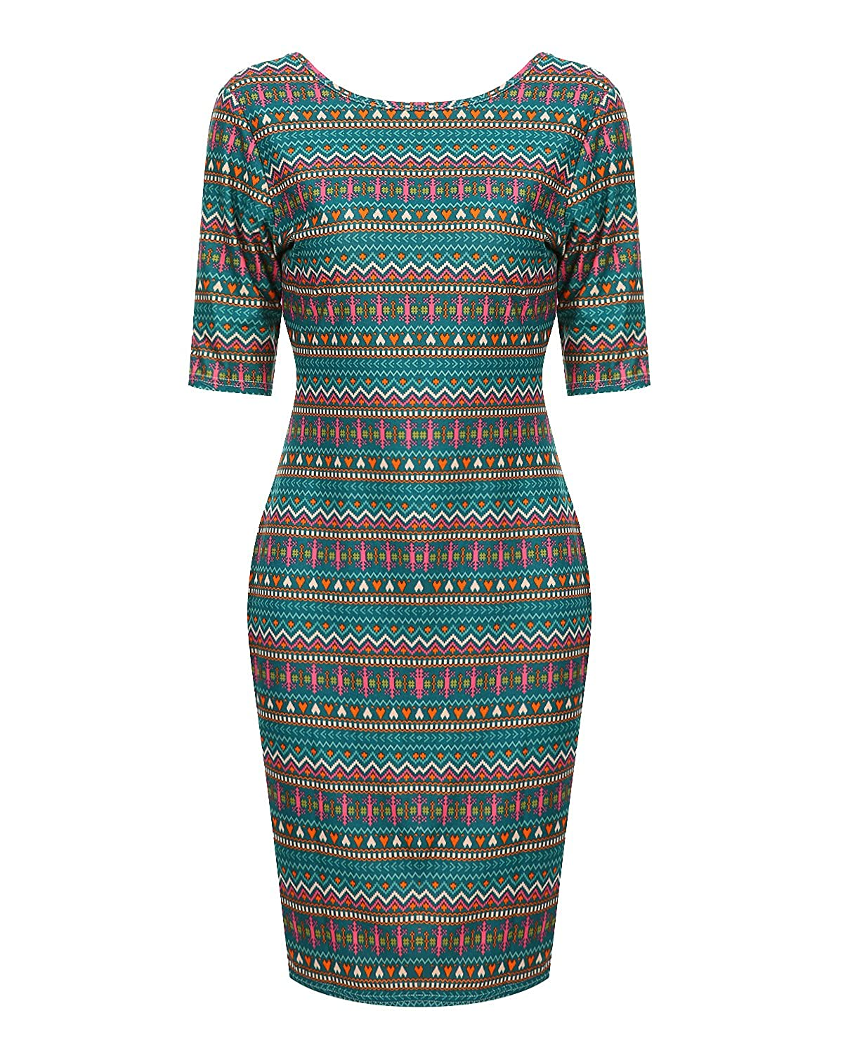1e8fa2af Geometric print bodycon dress features scoop neck, half sleeve, knee  length, package hip, bodycon dress. Eye-catching and gorgeous geometric  print ...