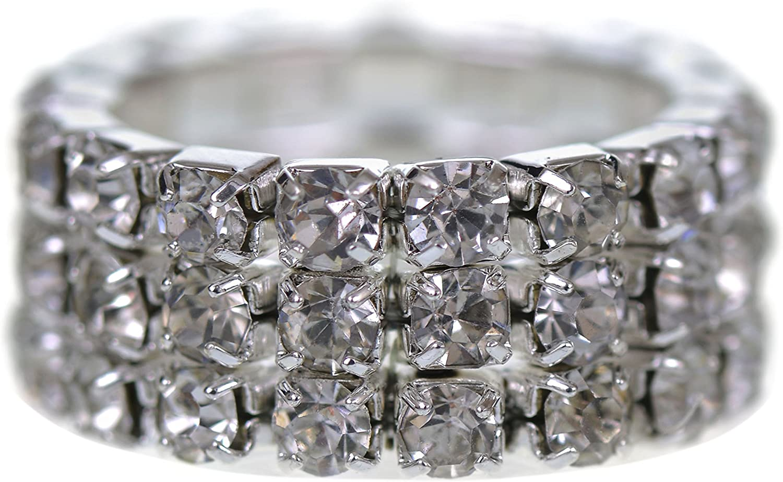 GORGEOUS - Anillo de acero inoxidable con 3 cuerdas de diamante