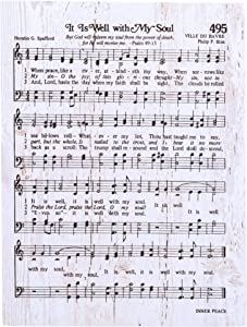 It Is Well With My Soul Sheet Music White 6 x 7 Inch Solid Pine Wood Heavenly Hymn Wall Plaque