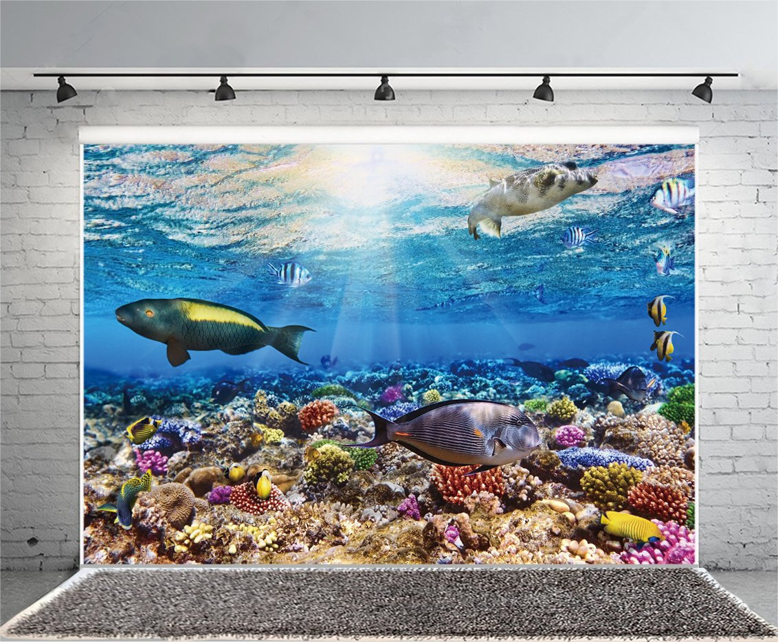 YongFoto 1,5x1m fondo submarino del mundo acuario fondos 3d para fotografía peces coral azul océano vela vinilo fondo de foto niños habitación decoración ...