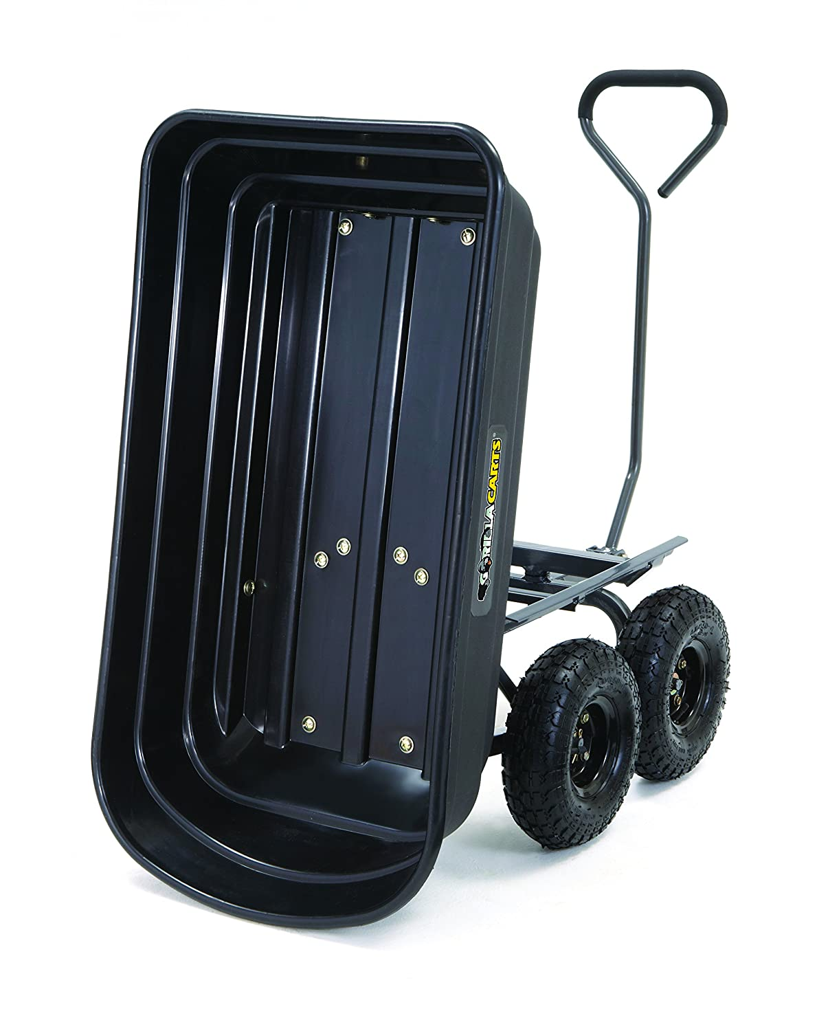 Amazon.com : Gorilla Carts Poly Garden Dump Cart With Steel Frame And  10 In. Pneumatic Tires, 600 Pound Capacity, Black : Garden U0026 Outdoor