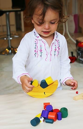 Prettywan 1pc Wooden Stacking Blocks Balancing Game Moon Balanced Building Blocks Montessori Early Education Toys for Kids