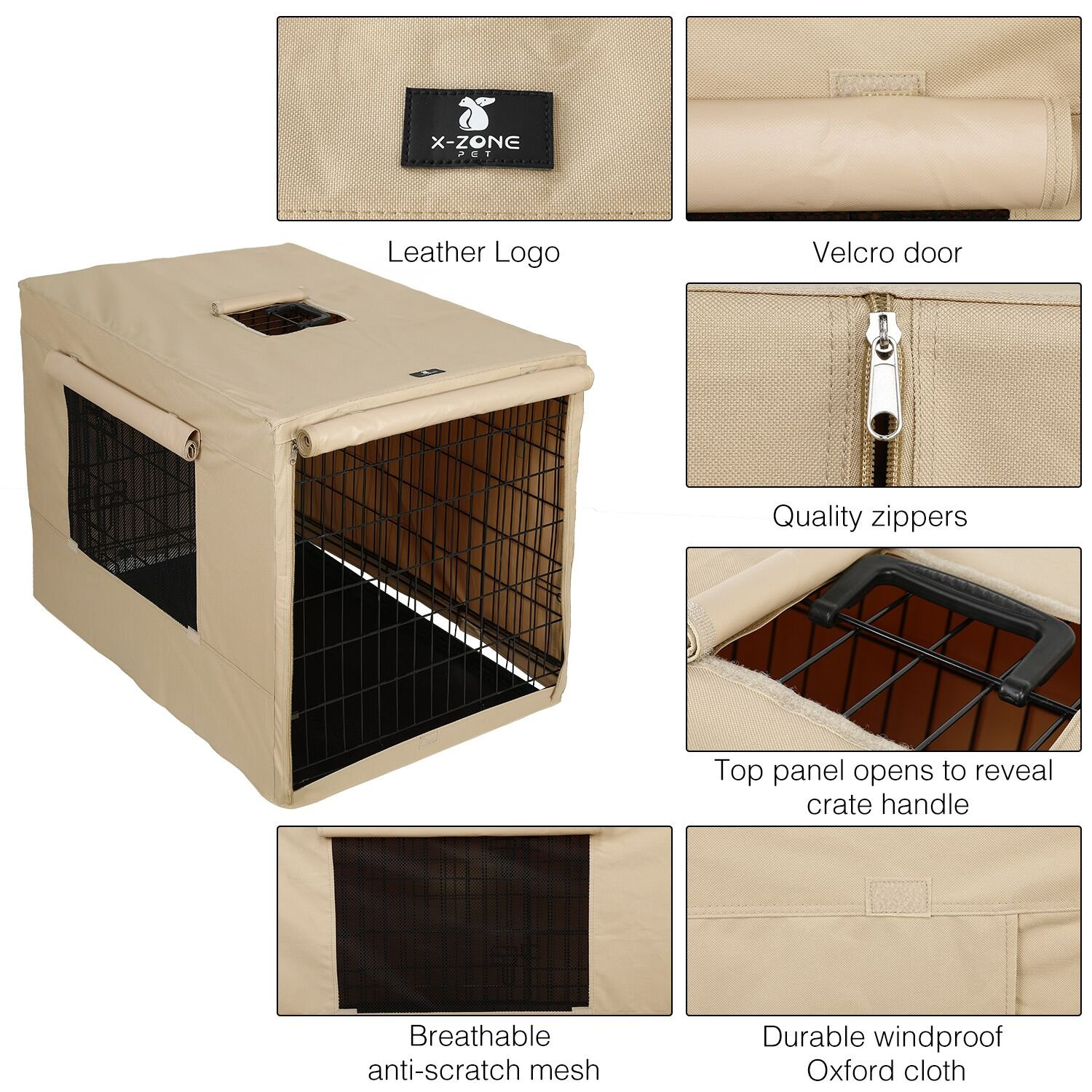 X-ZONE PET Indoor/Outdoor Dog Crate Cover, Polyester Crate Cover or Durable Windproof Kennel Covers for Wire dog Crates (30-Inch) by X-ZONE PET (Image #5)