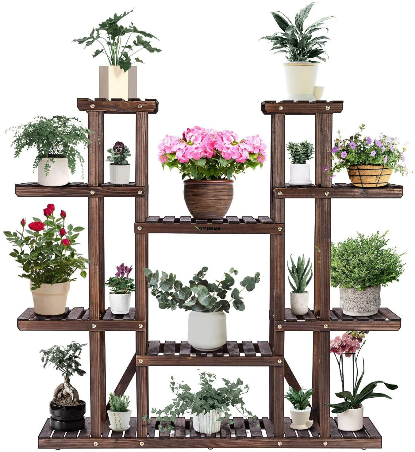 Amazon Com Vivosun 9 Tier Wooden Plant Stand Carbonized 17 Potted Flower Shelf Display Rack Holder 44 5 High Flower Stand For Patio Garden Balcony Indoor Outdoor Garden Outdoor