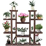 "VIVOSUN 9 Tier Wooden Plant Stand Carbonized 17 Potted Flower Shelf Display Rack Holder 44.5"" High Flower Stand for Patio Gar"