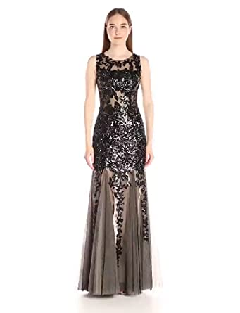 Jovani Womens Black and Nude Sleeveless Fit and Flare Prom Gown