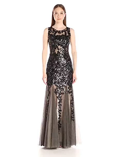 Jovani Womens Black and Nude Sleeveless Fit and Flare Prom Gown at Amazon Womens Clothing store: