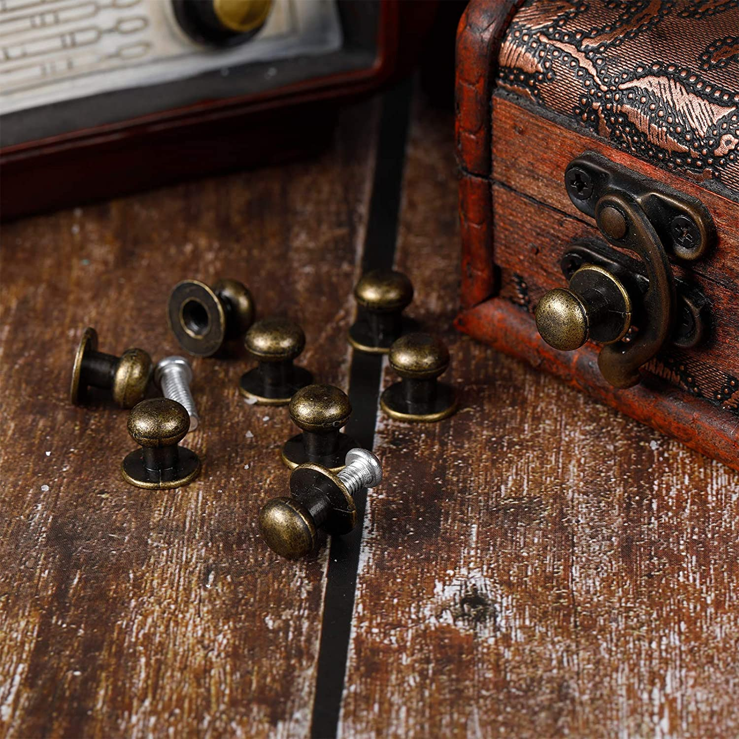 36 Pieces Mini Round Head Knobs Vintage Antique Bronze Drawer Metal Round Head Pull Handle Knobs with Screws for Wood Case Drawer Cabinets