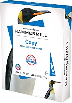 8.5 x 11-1 Ream 500 Sheets Hammermill Printer Paper - 92 Bright 20 lb Copy Plus Made in the USA