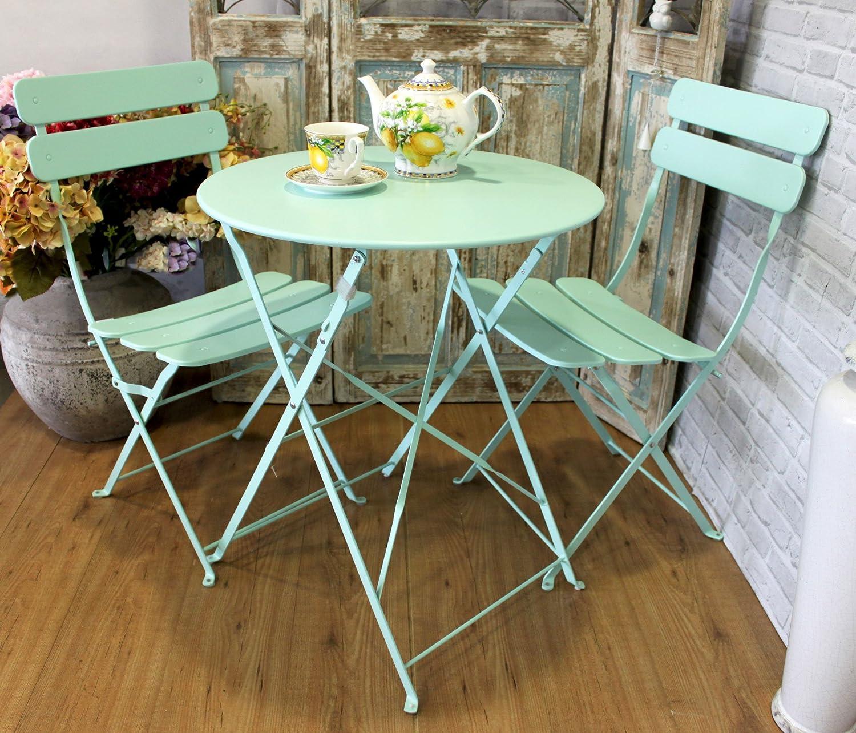 Keyhome Set tavolo 2 sedie arredo giardino in ferro COLOR - 60x70 cm Keyhomestore