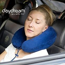 daydream PREMIUM-Reise-Nackenkissen mit Memory Foam, verschiedene Farben (N-5400),Nackenhörnchen, Reisekissen, Nackenstützkissen