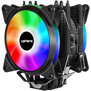 upHere RGB LED Lighting CPU Cooler 4 Direct Contact Heat Pipes with 120mm  PWM Fan-Supports ASUS Aura Sync/GIGABYTE RGB Fusion/MSI Mystic Light
