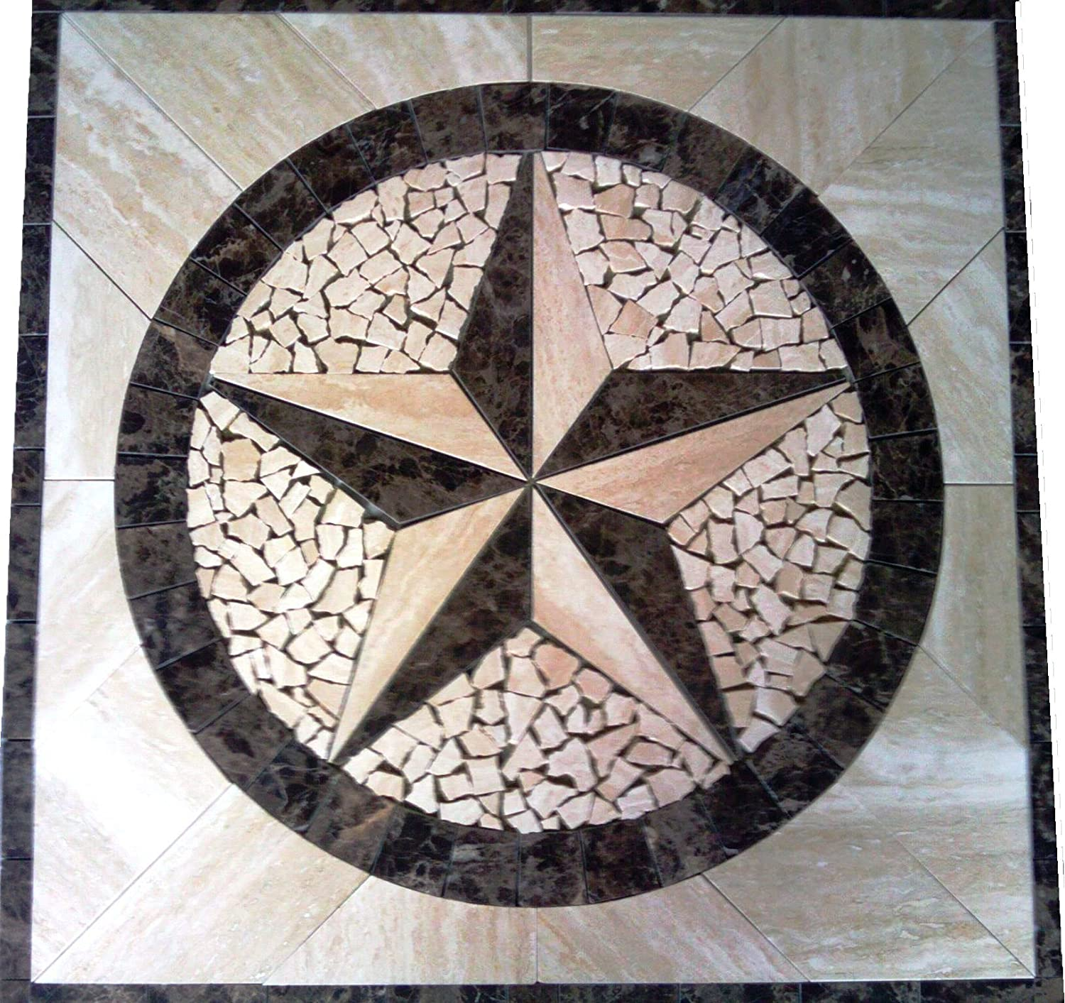 Marble Mosaic Floor Tile Medallion Texas Star Design 30\