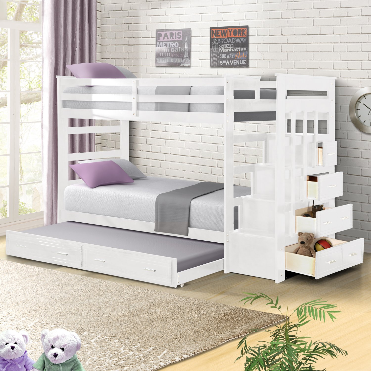 Harper&Bright Designs Bunk Bed with Trundle Captains Trundle Bunk Beds with Storage Drawers Twin Size (White)