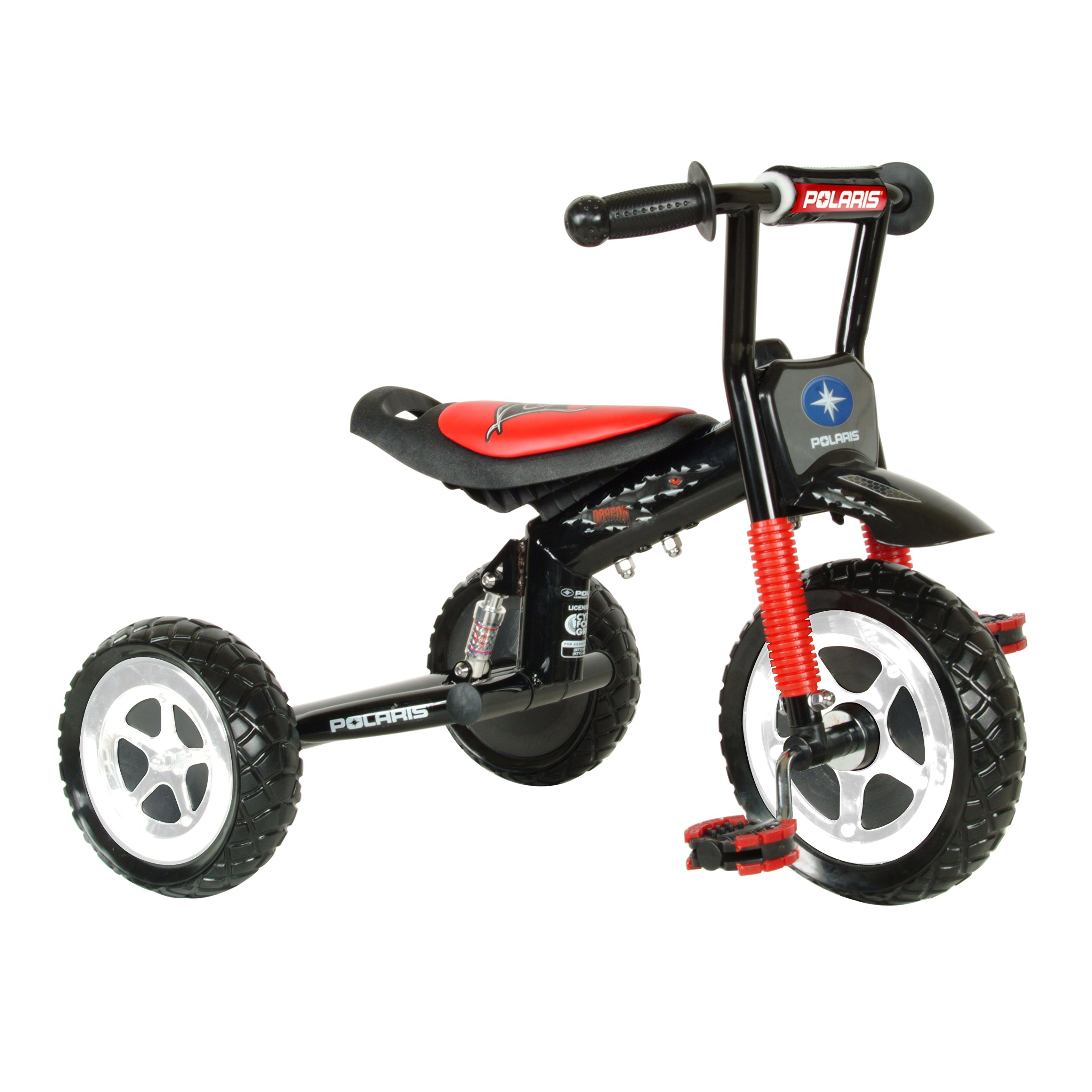 Polaris Dragon Tricycle with Steel Frame and Suspension Fork, 10 inch Wheels, for Boys and Girls, Red/Black by Polaris (Image #2)