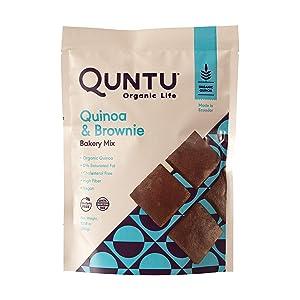 Quntu Quinoa Chocolate Brownie Bakery Mix | Gluten Free, Vegan, Non-GMO | 10.58 oz Bag