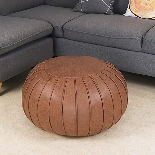 Thgonwid Decorative Pouf Footstool Ottoman Leathaire Poufs Storage Bean Bag Chair Round Floor Cushion Foot Stool