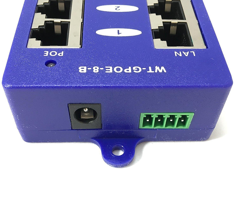 WT-GPOE-8B Gigabit 8 Port Passive PoE Power over Ethernet Injector for Ubiquiti, Mikrotik & More - Power Supply Sold Separately