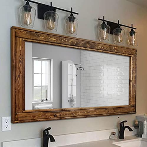 Mirrors Wall Mounted Herringbone Reclaimed Wooded Framed Mirror Large Mirror Rustic Mirror Bathroom Vanity Mirror Available In 4 Sizes And 20 Stain Colors Shown In Cherry Home Decor Handmade Products Guardebem Com