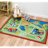 Street Map Red City Kids Play Rug ,Educational Rug ,Boys Rugs Girls Rugs ,Activity Paly Area Rugs (20 inch x 32 inch scatter size mat)