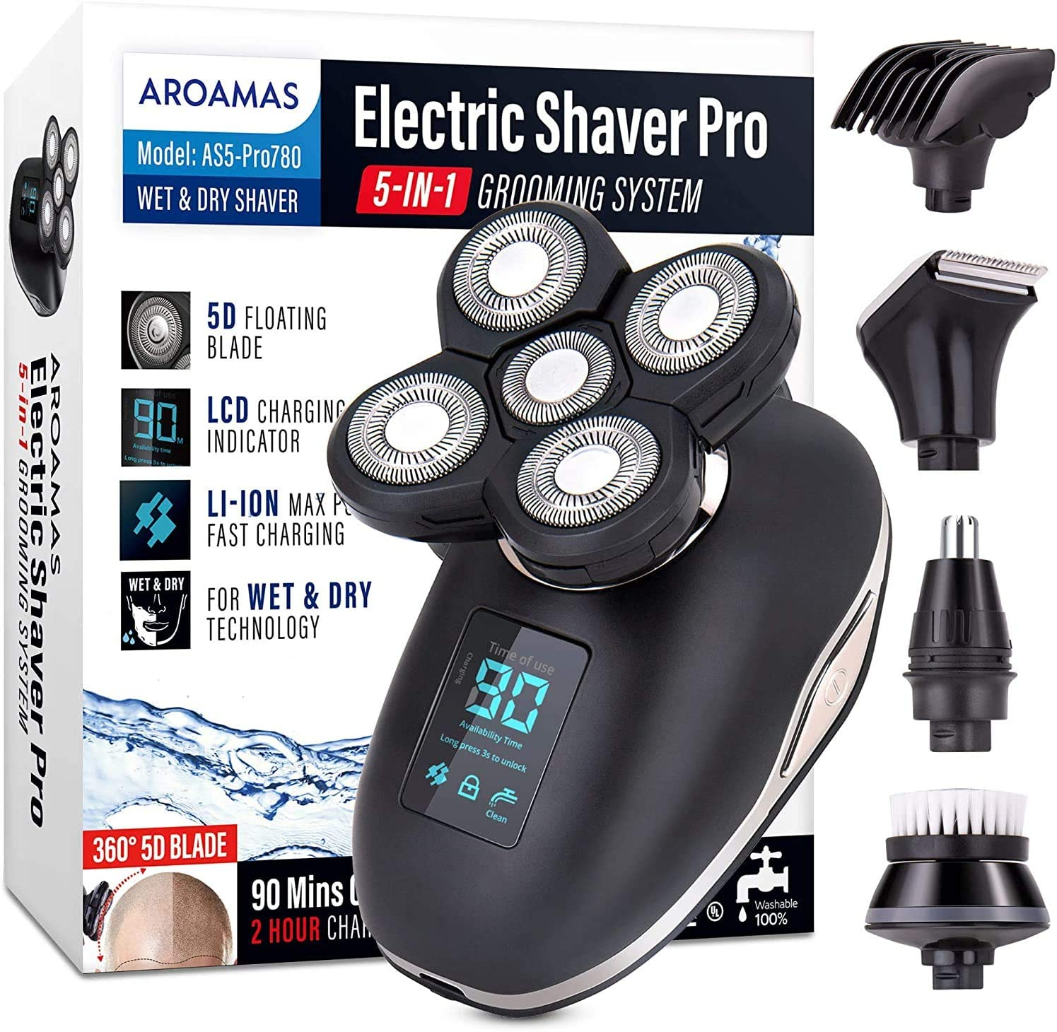 Aroamas Electric Razor for Men's Head and Beard Shaving - Waterproof, Rechargeable Electric Shaver for Bald Men and Beard Trimmer - Wet/Dry with 5-in-1 Grooming Kit [LED Display]