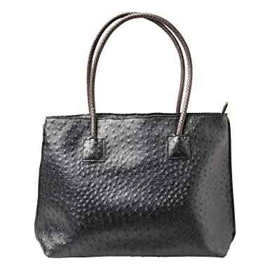 "1995bef3b9 Women's Vegan Ostrich Tote Bag - Zip Close Handbag - 20"" x 4"" ..."