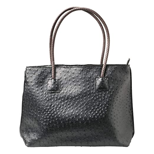 7ba5c212988 Women's Vegan Handbag - Ostrich Look Embossed Tote with Zip Close