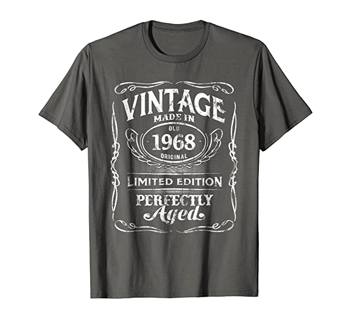 Mens Vintage Premium Made In 1968 T Shirt 50th Birthday Gift 2XL Asphalt