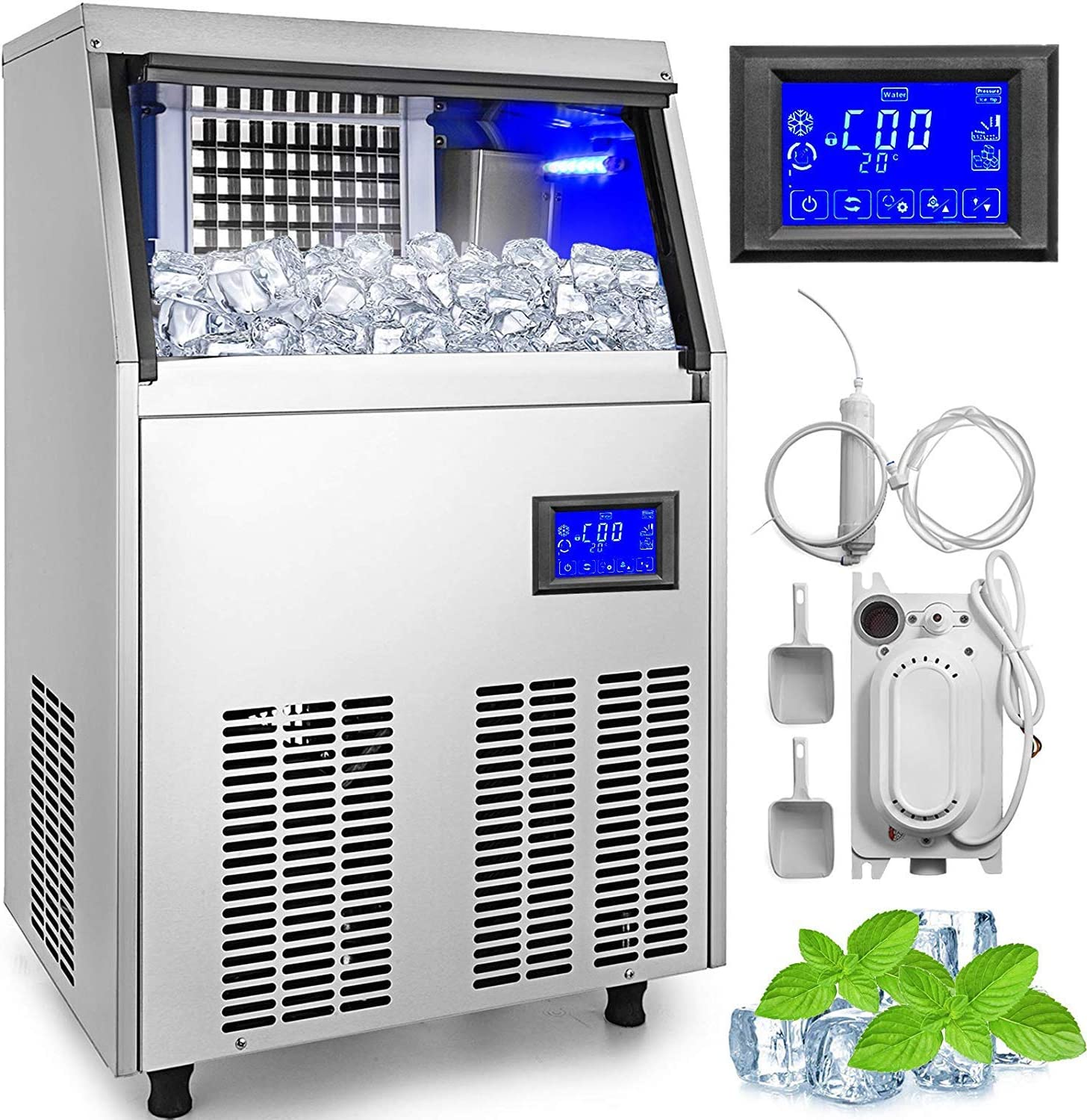 VEVOR 110V Commercial Ice Makers 90-100LBS/24H with Water Drain Pump 33LBS Storage Free-Standing 4x9 Cubes LCD Display Auto Clean for Restaurant Bar, 90-100LBS, Includes Scoop and Connection Hose
