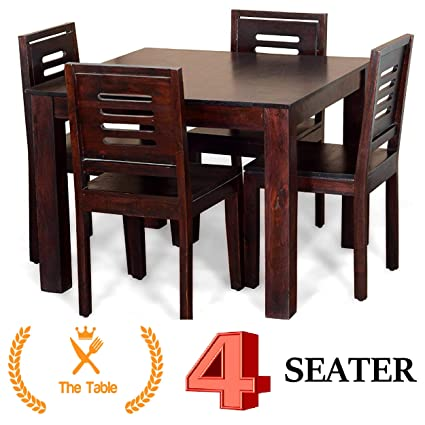 Woodstage Sheesham Wood Square Dining Table Set Furniture With 4 Dining Chairs For Home And Office Walnut Finish Wooden Dining Table Amazon In Home Kitchen