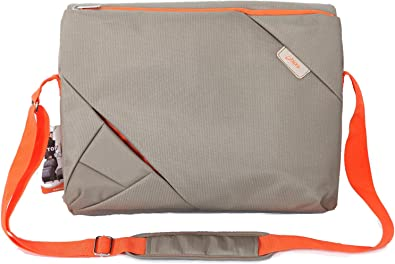 Bipra 15.6 Inch Laptop Bag with Shoulder Strap Grey with Red Stripe