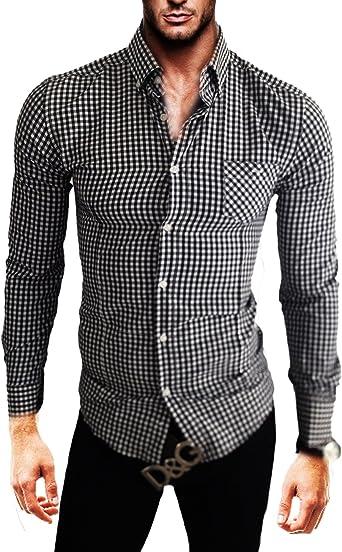 Kayhan Hombre Camisa, Quadri a.l.t Black (XS): Amazon.es: Ropa y accesorios