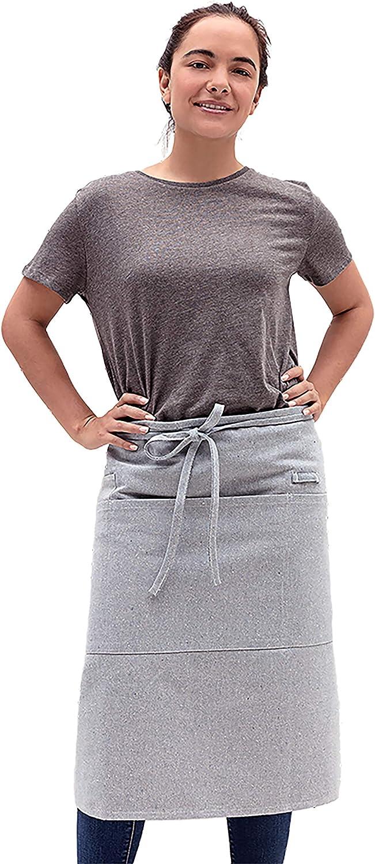 MEEMA Bistro Server Apron |Cotton and Denim Apron |Long Waist Apron with Pockets